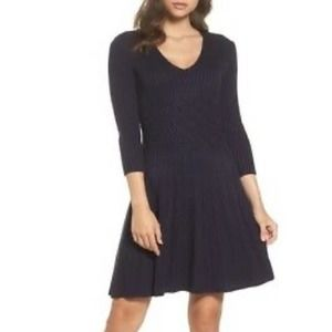 Eliza J | Navy Ribbed Fit & Flare Sweater Dress S
